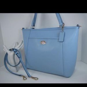 COACH light blue leather tote bag